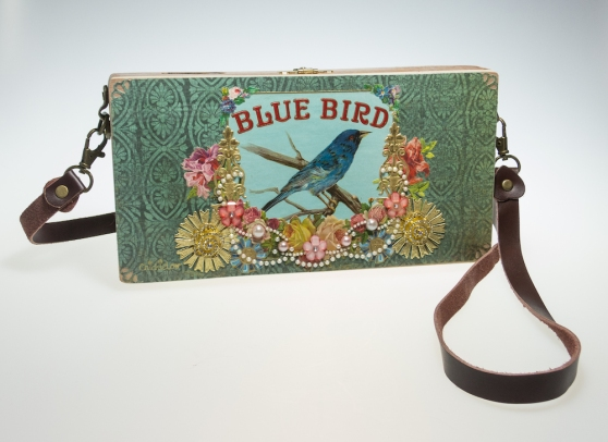 Blue Bird - Cigar Box purse by ChickieLou